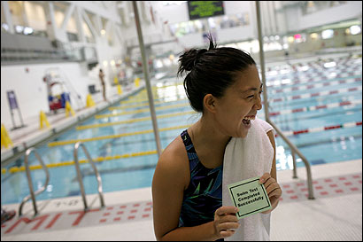 Stephanie Yeh, a senior at MIT, was all smiles after completing four laps required for the test.