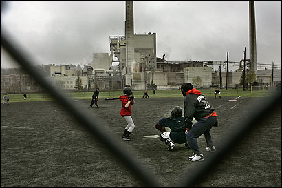 Baseball players in the Cal Ripken League practiced last week near the Berlin pulp mill in New Hampshire. Their season opener was scheduled for yesterday, the day the plant closed.
