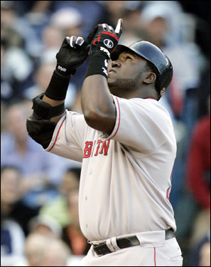 Ortiz did his trademark point to the sky after crossing the plate in the first inning.