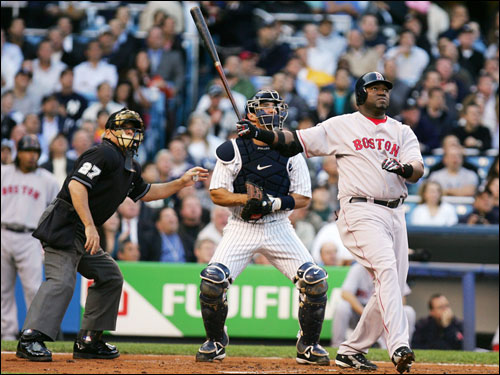 Ortiz, Yankee catcher Jorge Posada and the home plate umpire all watched the ball land in the upper deck at Yankee Stadium.