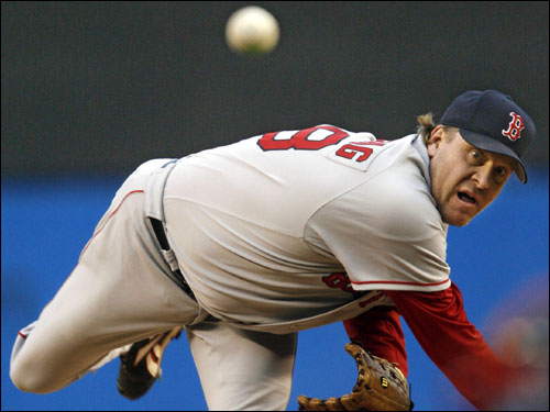 Curt Schilling made the start for the visiting Red Sox.