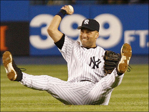 Jeter made the catch and showed the ball to the umpire, robbing Kevin Youkilis of a single.