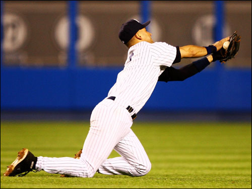 Derek Jeter made a bid for an over the shoulder catch in the third inning...