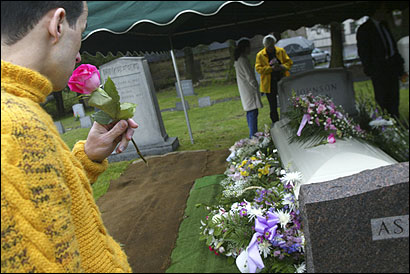 Giovane Luz of Leominster attended the funeral of Lillian Gertrud Asplund, the last survivor of the sinking of the Titanic in 1912 living in America, in the Old Swedish Cemetery in Worcester yesterday. He did not know her, he said, but he was curious and wanted to pay his respects.
