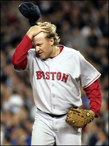 Curt Schilling goes right to the top after giving up his third homer, a two-run shot to Jorge Posada in the fifth.