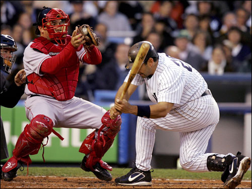 Jorge Posada had to duck out of the way of a Tim Wakefield knuckleball in the first inning.