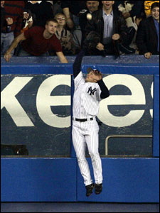 Mike Lowell (not pictured) was robbed of a home run by Bubba Crosby with a catch at the wall in left field last night.
