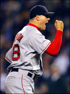 Jonathan Papelbon gets a charge out of retiring Jason Giambi for the final out.