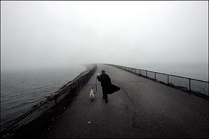 Marilyn Norton and her daughter's dog, Ringo, walked the causeway around Pleasure Bay toward Castle Island in yesterday's fog.