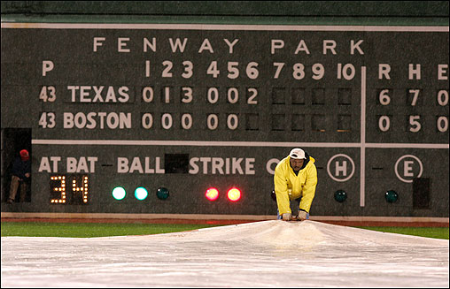 Friday night's Red Sox - Rangers game at Fenway Park was called in the bottom of the sixth inning due to rain. <img src='http://cache.boston.com/bonzai-fba/File-Based_Image_Resource/dingbat_arrow_icon.gif' alt='' title='' height='9' width='4' border='0' /> Read the story