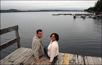 Nanette Thelemaque and Richard Nelson gave up apartments in Chelsea and Salem to buy a house in Newbury, N.H. They have no plans to move back to Massachusetts.