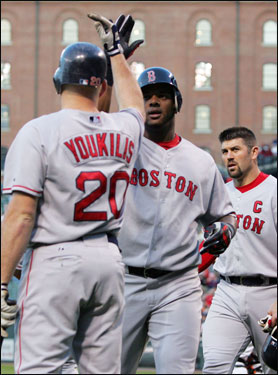 Red Sox leadoff hitter Kevin Youkilis congratulated Wily Mo after his two-run home run to the opposite field.