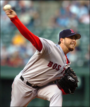 Josh Beckett went on to pitch seven dominant innings, allowing one run on two hits, while collecting his fifth win.