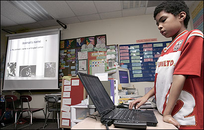 Faustino Fernandes, 10, recently made his PowerPoint presentation on lemurs that live in Madagascar to his fourth-grade class at The Huntington School in Brockton. ''I went on Google and got the pictures and the sounds,'' he said. ''It's fun. You get to look at pictures and listen to stuff.''