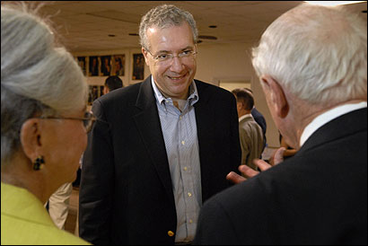 Gubernatorial hopeful Chris Gabrieli spoke with Tom Cullen in Uxbridge yesterday. Gabrieli is courting delegates before the June 3 state Democratic Party convention.