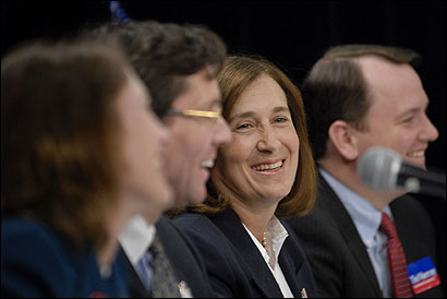 From left, Andrea Silbert, Sam Kelley, Deborah Goldberg, and Timothy Murray emphasized the differences in their resumes yesterday during the debate. The candidates also attacked the administration of Governor Mitt Romney and Lieutenant Governor Kerry Healey.