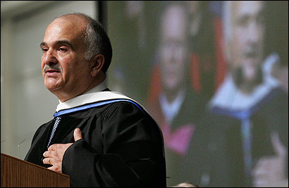 Prince El Hassan bin Talal of Jordan delivered the keynote address yesterday at the Brandeis University commencement.