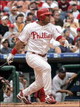 The Phillies' Bobby Abreu tripled to center field in the third inning, scoring two runs and giving Philadelphia a 2-1 lead at the time.