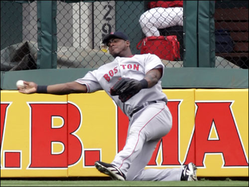 Wily Mo Pena slipped on the way to pick up the ball but recovered in time to keep Bobby Abreu from scoring.