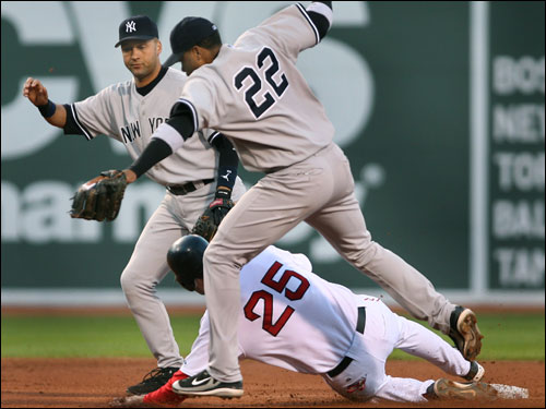 Yankees second baseman Robinson Cano committed an error, allowing Mike Lowell to slide safely into second base during the second inning.