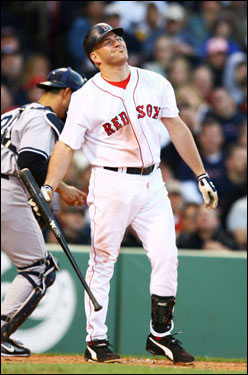 Kevin Youkilis reacted after striking out with two men on base to end the second inning.