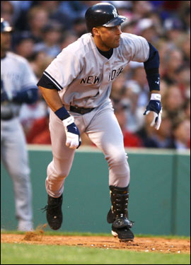 Derek Jeter hit a two-run single off of Tim Wakefield in the third inning giving the Yankees a 3-0 lead.