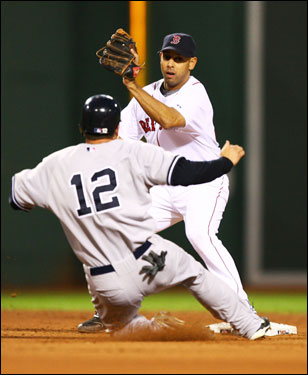 Andy Phillips is tagged out by Alex Cora while trying to steal second base after Derek Jeter struck out swinging.