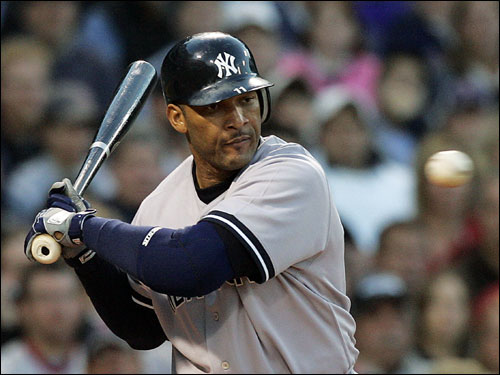 Gary Sheffield played designated hitter in his first game back with the Yankees. Here he had his eye on the ball as it crossed the plate.