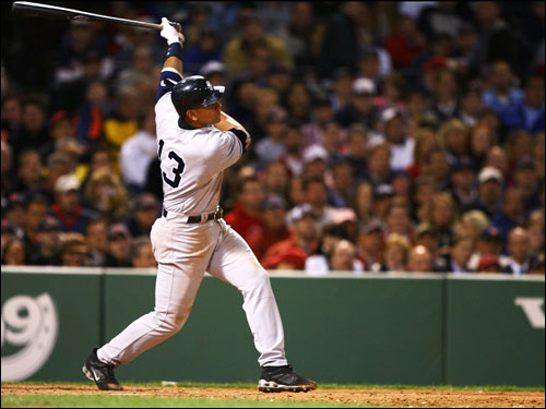 Alex Rodriguez connected with a Tim Wakefield pitch and sent it into the Monster seats.