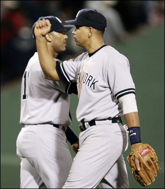 Yankees Gary Sheffield and Alex Rodriguez celebrated after the Yankees 7-5 victory over the Red Sox.