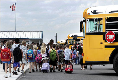 Students boarding a bus in Flagler County, Fla.