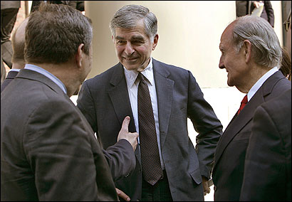 Departing Harvard president Lawrence Summers (back to camera), former Massachusetts governor Michael S. Dukakis, and George McGovern (right) attended yesterday's service.