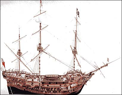 A drawing of the Whyda, the pirate ship that John King is believed to have been sailing on when he died.