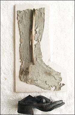 The silk stocking, shoe and fibula believed to be John King's, found in the wreckage off Wellfleet.
