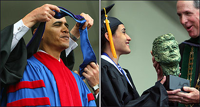 UMass-Boston graduates listened to Senator Barack Obama before he received an honorary degree yesterday. Student speaker Catherine Reyes (right) was given the John F. Kennedy Award for Academic Excellence by Chancellor Michael Collins.