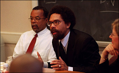 Cornel West (right), with Henry Louis Gates Jr., lectured Harvard University doctoral students in September 2001.