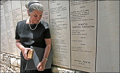 Martha Sharp Joukowsky stood next to her parents' names after they were unveiled in the Garden of the Righteous Among Nations in Jerusalem yesterday.