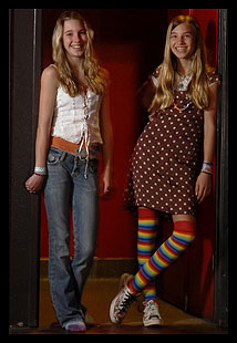 Indie popsters Chloe (left), 12, the drummer, and vocalist-keyboardist Asya, 14, have played with Death Cab for Cutie, Pearl Jam, and Rilo Kiley, among other bands.
