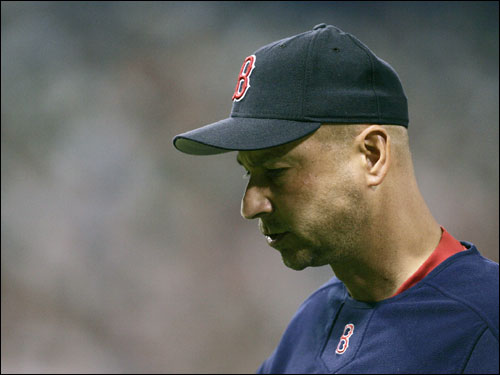 Red Sox manager Terry Francona headed to the dugout after pulling relief pitcher Jermane Van Buren in the sixth inning.