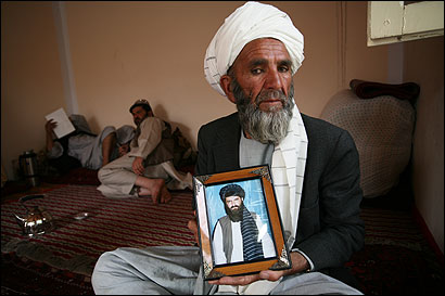 Haji Muhammad Hasan, the father of Guantanamo Bay inmate Abdullah Mujahid, in his home in Gardez, Afghanistan.