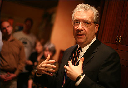Democratic gubernatorial candidate Chris Gabrieli talked to convention delegates at the home of Salem's mayor, Stanley Usovicz, in May. His campaign has stressed his ''record of results.''