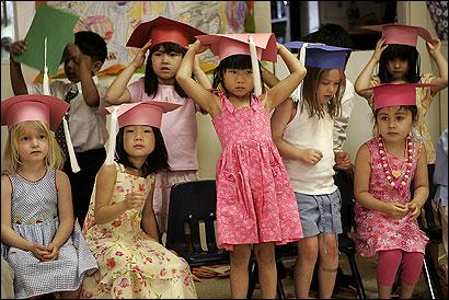 Graduates of Les Petits Nursery School in Brookline celebrated their milestone on Friday.