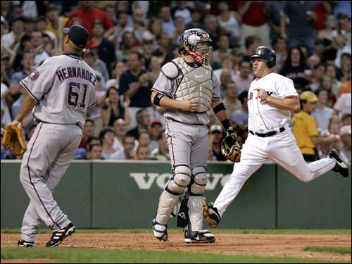 Kevin Youkilis made it home on a Manny Ramirez single in the second inning.