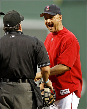 Terry Francona argued a foul ball call with home plate umpire Tim Tschida in the second inning.
