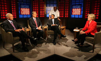 Democratic gubernatorial candidates (from left) Thomas F. Reilly, Christopher F. Gabrieli, and Deval L. Patrick prepared to debate at WGBH-TV yesterday.