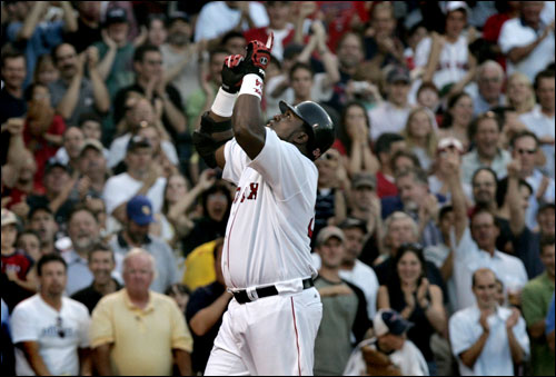 David Ortiz pointed skyward as he approached home plate after hitting a second-inning grand slam.