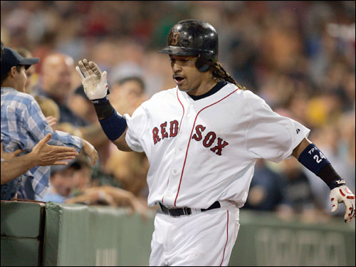 Manny Ramirez hit his second home run of the game in the seventh inning. He had five RBI's on the night.