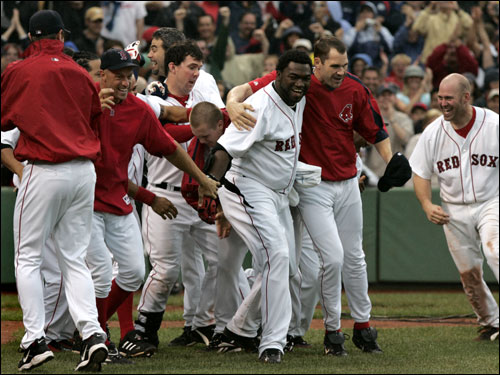 Ortiz was greeted at the plate by his teammates in a ritual he has become accustomed to.