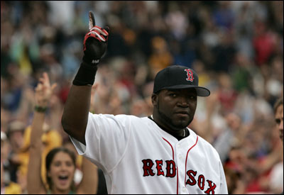 David Ortiz acknowledges the crowd after hitting the seventh regular season game-ending home run of his career.