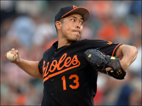 He's been terrible with the Orioles this season, but had been a regular Sox killer until recently and shown he can pitch well in Fenway. A longshot that the Orioles would trade him within the division. Lopez, eligible for free agency in '08, probably is not worth what the O's would want in return.